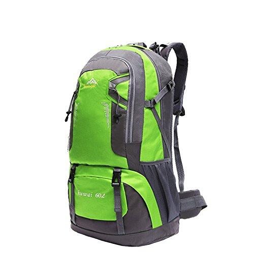 旅行パック、dometool 60l軽量防水ハイキングバックパックキャンプ旅行用デイパックカジュアルバックパック登山ハイキング旅行学校 B0749LXCQW グリーン