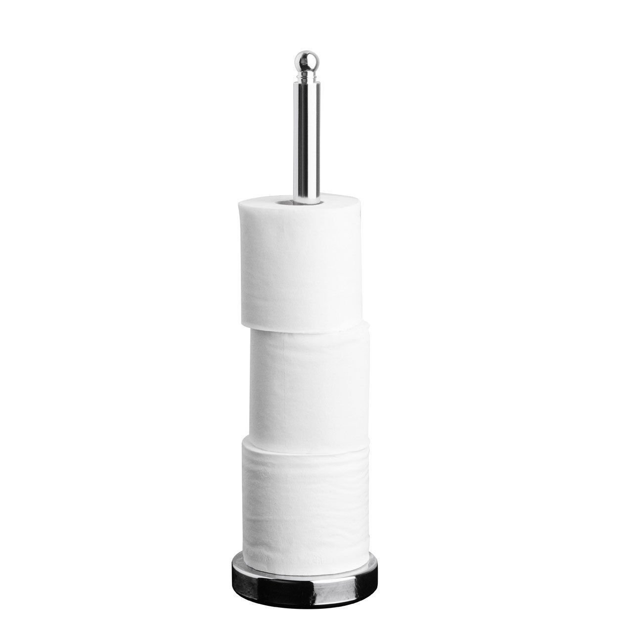 CHROME TOILET LOO ROLL HOLDER PAPER STORER STORAGE STAND SPIKE STANDING Guilty Gadgets