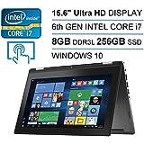 "Dell Inspiron 7568 2-in-1 15.6""4K UltraHD Touch Intel Core i76th GEN 256GB SSD 8GB Windows10 Back-lit KeyBoard No DVD Drive Black"