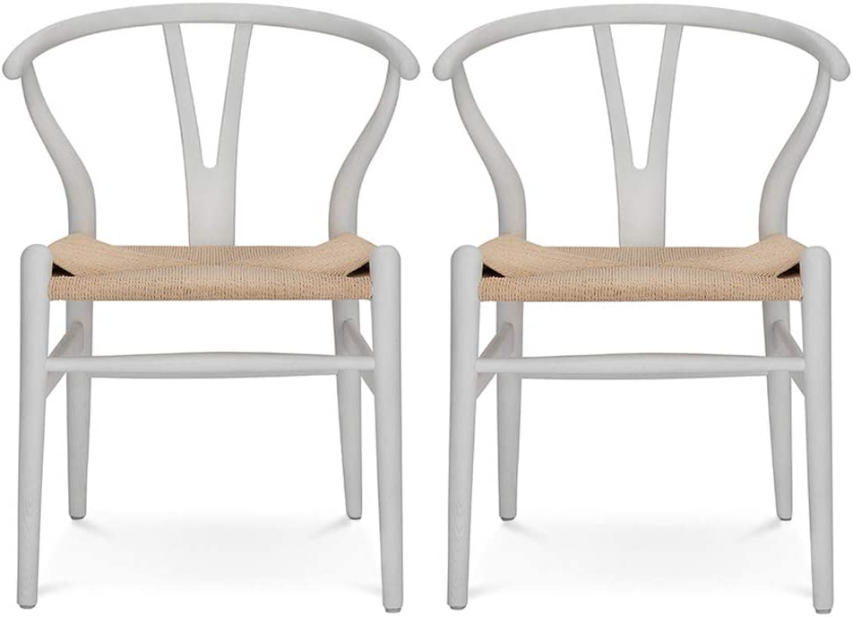 VODUR Wishbone Chair Natural Solid Wood Dining Chair/Hans Wegner Y Chair Rattan and Wood Accent Armrest Chair - Beech Wood Chair Set of 2 (Beech Wood - White)