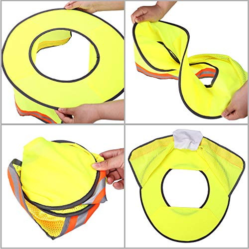 2 Pack Hard Hat Sun Neck Shield Full Brim Sunshade for Hard Hats- High Visibility, Reflective, Full Brim Mesh Sun Shade Protector (Hard Hat Not Included) (Orange) by Erlvery DaMain (Image #5)