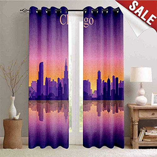 (Chicago Skyline Pattern Custom Gromets Curtain Drapes for Living Room, Sunset in Illinois American Horizon Behind High City Silhouettes Party Darkening Curtains, Purple Apricot Pink, W120 x L84)