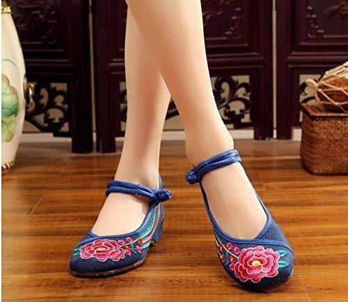 Fuxitoggo Bestickte Schuhe Sehnensohle Sehnensohle Sehnensohle ethnischer Stil weibliche Stoffschuhe Mode bequem Tanzschuhe Denimblau 37 (Farbe   - Größe   -) dee795