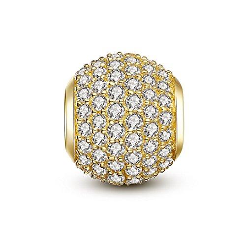 Swarovski Round Charm - Glamulet Bright Pave Swarovski Crystal Charms Sterling Silver Antique Round Beads for Women (Yellow)
