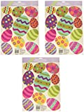 Amscan Easter Egg Vinyl Window Decorations with Glitter Size, 18'' x 12'', Multicolor (3-Pack)