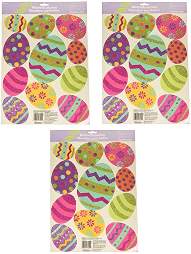 Amscan Easter Egg Vinyl Window Decorations with Glitter Size
