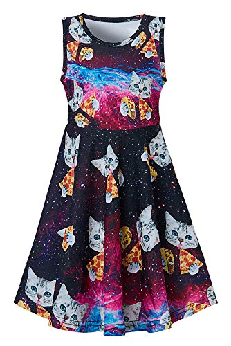 Funnycokid Girls Pizza Cat Party Dress Cute Kitty Twirly Dresses Sleeveless Summer Casual Sundress for Special Occassion 6-7T -