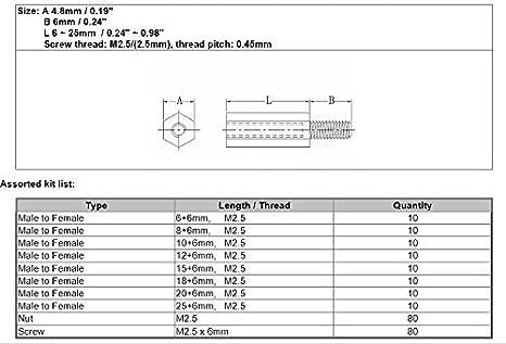 Unentschieden. Generic M2,5/Nylon Hex M Spacer//Schraube//Mutter-Set sortiert f/ür raspberry-pi