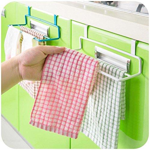Iusun Kitchen Bathroom Over Door Towel Rack Bar Hanging Holder Cabinet Shelf Rack (White) (Gift Baskers)