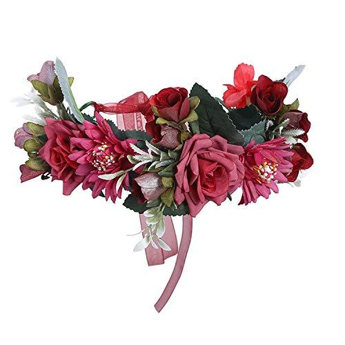 Women Bezel Flower Crown Bridal Floral Headband Wreath Spring Girls Wedding Hair Accessories Bridesmaid Tiara,Red