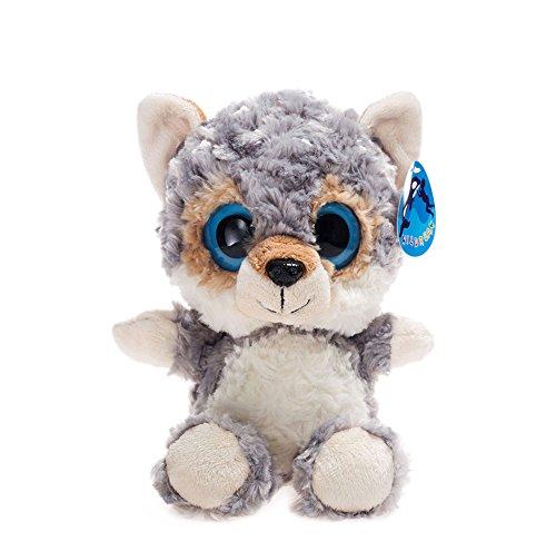 WILDREAM Big Eyes Grey Wolf Stuffed Animal Toys Cuddly Polyester Fabric Jungle Animal Best Gift