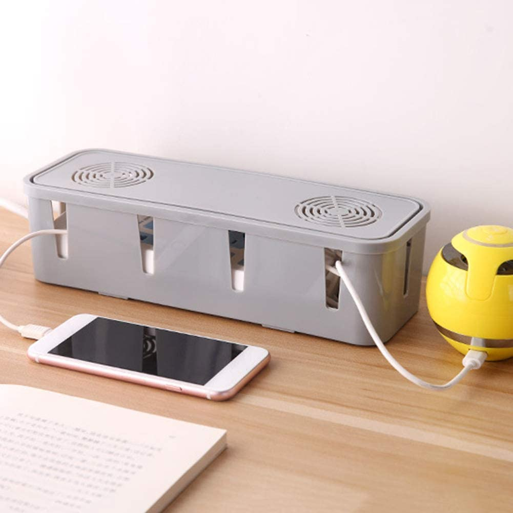 Cord Organizer for Desk TV Computer USB Hub System to Cover and Hide /& Power Strips /& Cords Anaric-Tih Plastic Cable Management Box With Cooling Holes 27x8x9cm Grey