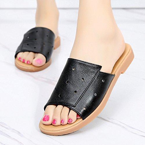 OME&QIUMEI Cool Zapatillas Dama Zapatos De Verano Zapatos Y Sandalias Cool Resbaladizas Negro