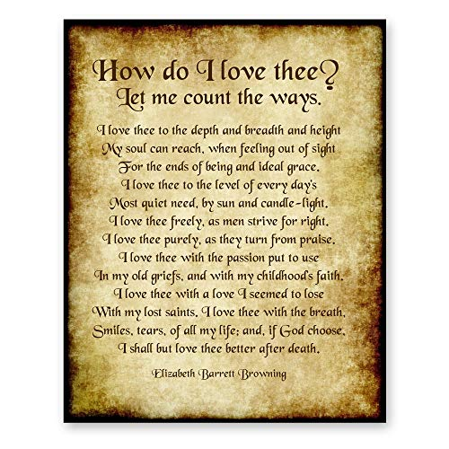How Do I Love Thee Poem by Elizabeth Barrett Browning Antique 8x10 Romantic Poetry Home Decor Gift Print