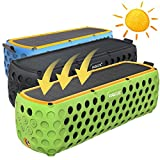 Solar Bluetooth Speaker, AGOZ 30+ Hours Playtime Portable Wireless Stereo Bass IP65 Splashproof for Outdoor Camping,Biking,Shower For Apple iPhone X, 8 Plus, 8,7,6S, Samsung Note 8, S9, S8, S7 (Black)