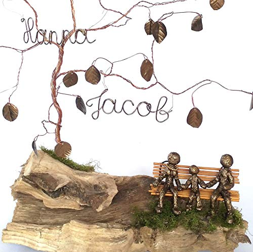 Gift for 8th 19th Bronze Anniversary, Personalized Family Wire Tree Sculpture for Husband or Wife, Gift for 8 Years Wedding from His or Her, Eight Marriage for a Couple, Custom Name Birthday Gift