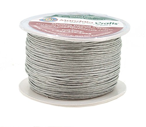 Mandala Crafts 1mm 109 Yards Jewelry Making Beading Crafting Macramé Waxed Cotton Cord Thread (Silver) (Jewelry Wholesale Leather)