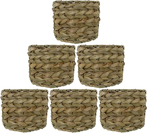 Urbanest Set of 6 Natural Woven Seagrass Chandelier Drum Lamp Shades, Clip-on, 6-inch by 6-inch by 4 1/2-inch
