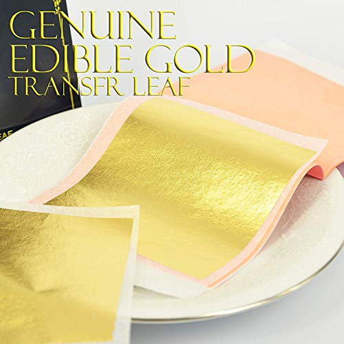 Edible Genuine Gold Leaf Sheets - by Barnabas Blattgold - 3.1 inches Booklet of 10 Sheets - Transfer Patent Leaf (Chocolate Transfer Sheets Wedding)