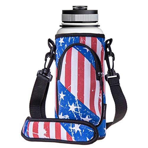 RoryTory Neoprene Water Bottle Sleeve Carrier Holder with Shoulder Strap, Pouch, Pocket & Carrying Handle (Fits 32oz / 40oz Hydro Flask, Nalgene, Juglug, Contigo, etc) - USA American Flag