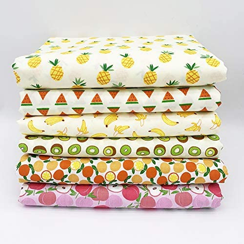 Thick 6Pcs 20 x 16 Cotton Fabric DIY Making Supplies Quilting Patchwork Fabric Fat Quarter Bundles DIY for Quilting Patchwork Cushions Cotton Fabric for Patchwork (20 x 16 Fruit)