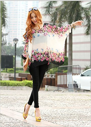 Manica Chiffon OKSakady Shirt Tunica Batwing Donne Doman Size Plus 4276 4 3 per T Boho qvvFrY