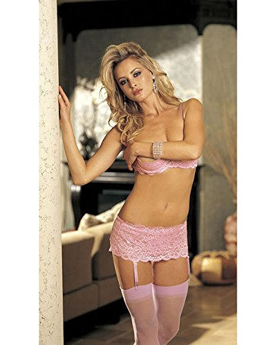 (Shirley of Hollywood SOH-20146, Lovely Stretch Lace Garterbelt. O/S Pink)