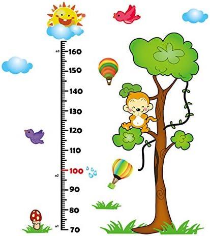 Bartram ウォールステッカー 子供身長計 壁紙 壁デカール 壁の装飾 子供部屋 可愛いな動物 取り外し可能 DIY (猿)