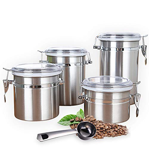 (Airtight Canister Set Stainless Steel,4 Piece Food Storage Container with Lids for Tea,Coffee,Snacks, Milk Powder,Sugar,Flour Canisters with Clear Lid Locking Clamp-Spoon Included)