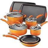 Rachael Ray Porcelain II Nonstick 12-Pc Cookware Set, Orange Gradient