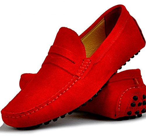 low Comfort Slipper loafers Santimon Running Shoes Outdoor Genuine Leather Men's Nubuck Casual Moccasin Red Boat Or8xn7O
