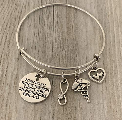 Infinity Collection Nurse Charm Bracelet, Christian Bangle Bracelet, Faith I Can Do All Things Through Christ Who Strengthens Me Phil. 4:13 Scripture Jewelry, Nursing Gifts for Women
