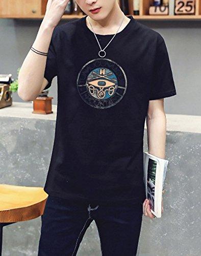 Jovono Fashion Mens Round Neck T-Shirt Printing Casual Short Sleeve Tee Cotton Black Short Tops (XXXX-Large) by Jovono (Image #1)