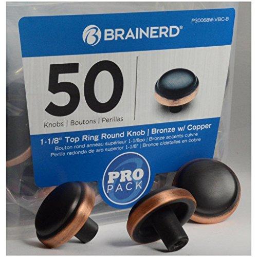 Brainerd 1-1/8 in. ( 26mm) Top Ring Round Knob, Bronze w/Copper Highlights, 50 Pack - P30068W-VBC-B - Copper Round Cabinet Knob