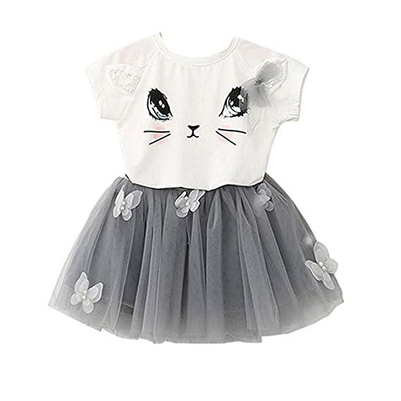 Tinksky Dos - pieza Cat blanco T camisa mariposa gris Tutu Falda conjunto para niñas de