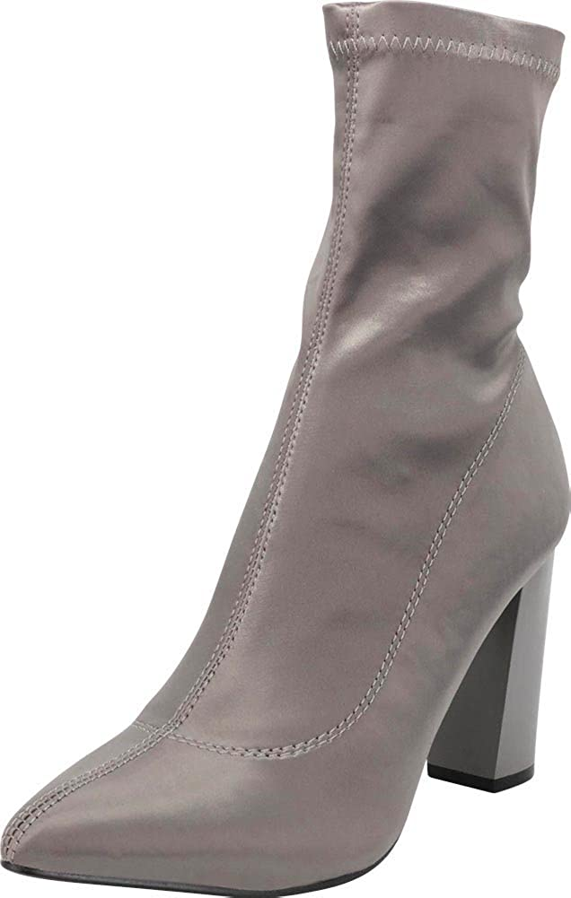 a3226adfd4e Cambridge Select Women's Pointed Toe Soft Stretch Sock Style Chunky Block  Heel Ankle Bootie