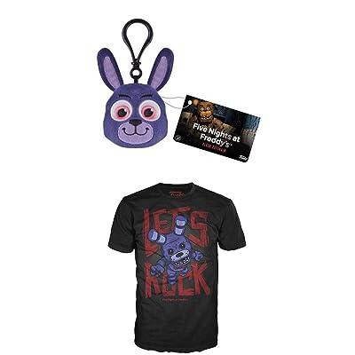 Funko FNAF: Bonnie Plush Keychain + Bonnie Let's Rock Kid's Size X-LARGE T-Shirt Set NEW