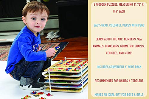 Etna Products Wooden Puzzles For Toddlers - 6 Colorful Wood Knob / Peg Puzzles, Ideal for Your Baby/Toddler - Fun & Educational - Includes Kids Alphabet Puzzle, ABC Puzzle, Shape Puzzle, Puzzle Rack by Etna (Image #3)