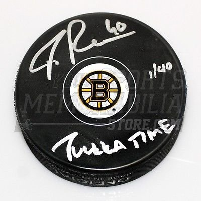 Tuukka Rask Boston Bruins Signed Small Bruins B Logo Puck with Tuukka Time LE