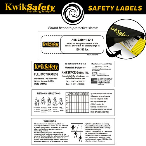 KwikSafety HURRICANE | OSHA ANSI Fall Protection Full Body Safety Harness w/Back Support | Personal Protective Equipment | Dorsal Ring Side D-Rings | Universal Construction Industrial Roofing Tool by KwikSafety (Image #6)