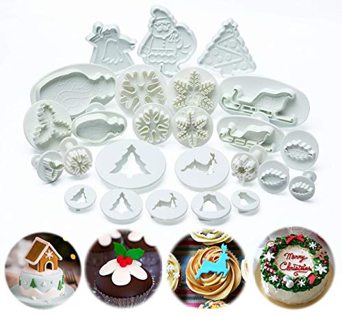 ilauke Christmas Cookie Cutters Pastry Fondant Stampers - Snowflake, Leaves, Santa Claus, Christmas Tree - Plunger Cutter Cake Decorating Embossing Tools, Set of 25 Pcs (Tree Christmas Plunger Cutter)