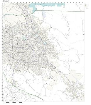 Amazon Com Zip Code Wall Map Of San Jose Ca Zip Code Map Not