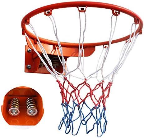 18インチソリッドバスケットボールフープ、壁に取り付けられた大型の耐荷重性バスケットボールスタンドキット、ダブルスプリング付き、大人用、屋外用屋内プロ標準バスケットボールリング