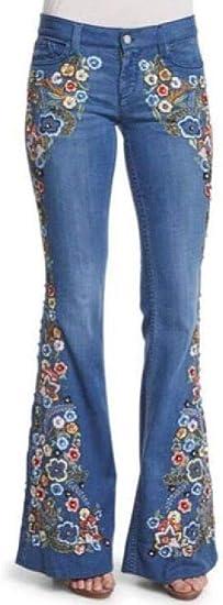 Memories Love Women Butt Lift Stretch Embroidery Bell Bottom Denim Jeans Pants