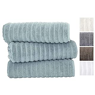 Classic Turkish Towels Luxury Bath Towel Set - Soft and Thick Oversized Ribbed Bathroom Towels Made with 100% Turkish Cotton (Spa Green, 40X65 Bath Sheets)
