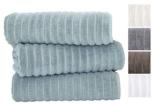Classic Turkish Towels 3 Piece Luxury Bath Sheet Set - 40 x 65 Inch Soft and Thick Oversized Bathroom Towels Made with 100% Turkish Cotton (Seafoam) (Bath Long Towels Extra)
