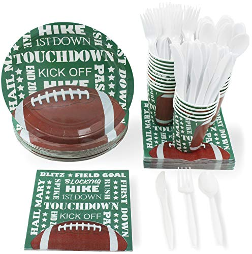 Juvale Football Party Supplies Pack with Plates, Knives, Spoons, Forks, Cups and Napkins, Serves 24
