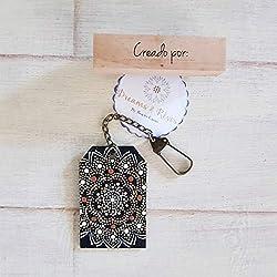 Llavero de madera, artesanía mexicana, llavero de Boho, llavero puntillismo, hecho en México, llavero de la mandala, pintado a mano.