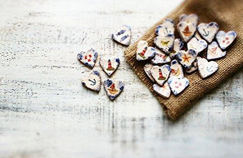 Set of 100 Beach wedding favors heart magnets