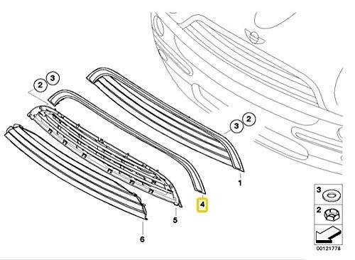 Rejilla de cap/ó de secci/ón superior genuina con ribete cromado 7032535 OEM